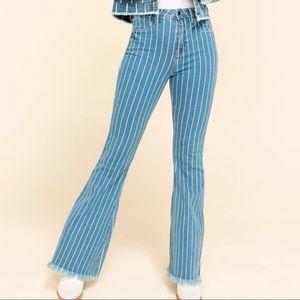 🆕 High-Rise Striped Frayed Hem Flare Jeans